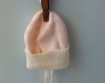 12 Month Pale Pink and White Stripe Hat