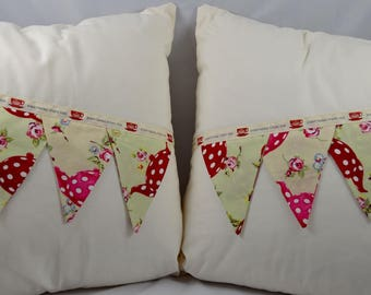 Everything Stops For Tea Floral Summertime Bunting Cushion