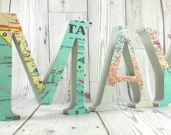 Map Wooden Letters, 13cm Height & you can choose your favourite location