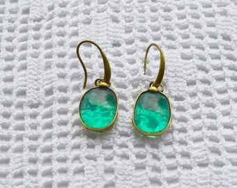 Handmade Glass Earrings, Stained Glass Technique, Green Turquoise  Earrings, Dangle Earrings
