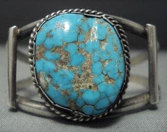 Rare! Vintage Navajo #8 Turquoise Sterling Silver Bracelet Old Pawn