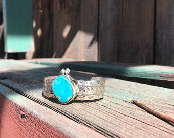 Signed Navajo V Hicks Turquoise Silver Cuff, Stamped Silver Cuff Turquoise, Boho Cuff, Gypsy Cuff, Stamped Sterling Turquoise
