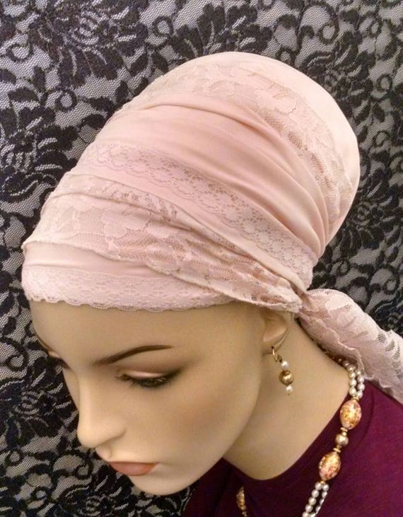 Soft and lacy, soft and pink sinar tichel, tichels, apron tichels, head scarves, head wraps, chemo scarves, mitpachat