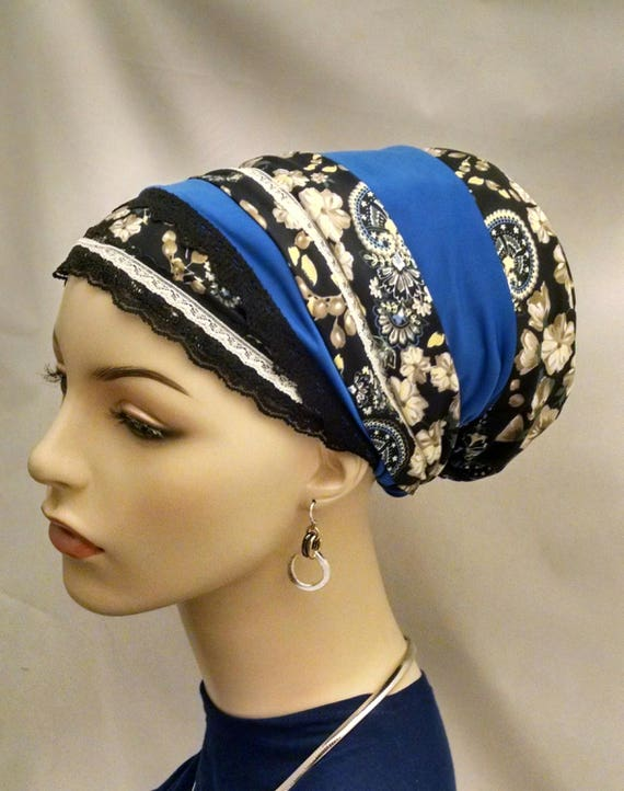Floral sinar tichel with lace accents, tichels, chemo scarves, head scarf, hair snoods