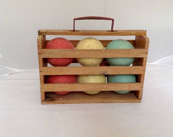 French Vintage Boules Pétanque Set In Original Case ( Ref No. A404 )