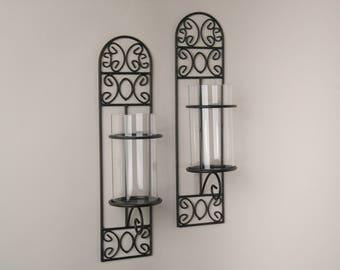QBA568 Danya B™ Set of Two Metal Filigree Wall Sconces - Madeira