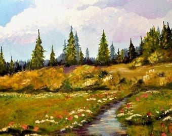 "Babbling Brook & Meadow Spring Landscape Oil Painting on Canvas Signed Terri 16"" X 12"" Unframed"