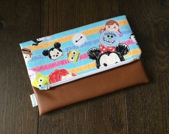 Tsum Tsum Fold Over Clutch with Vegan Leather Bottom