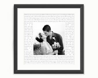 Wedding Vows Print or Song Lyrics - Square Custom Personalised Wedding Photo Art - Anniversary/Valentine's Day Gift - Digital Download