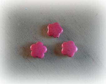 3 howlite flower pink beads 16 mm