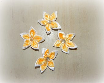 4 appliques 5 petal flower orange yellow white 5.5 cm