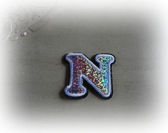 1 patch fusible patch / applique letter N alphabet in silver, white and black dimensions approx shades. : 5.5