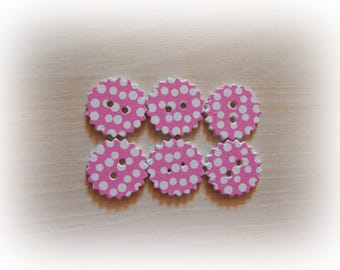 6 buttons rosewood polka form scalloped round 24 mm