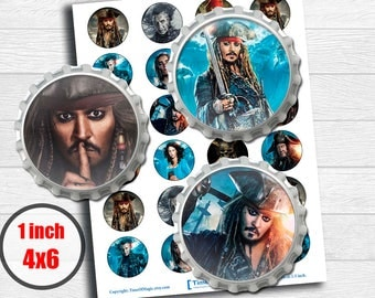 """Pirates of the Caribbean 2017 - Digital Collage Sheet  Disney 1"""" inch 25mm Bottlecap Printable Image Download for pendants magnets party"""