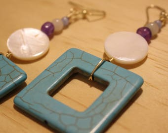 Turquoise Magnesite and Shell Earrings