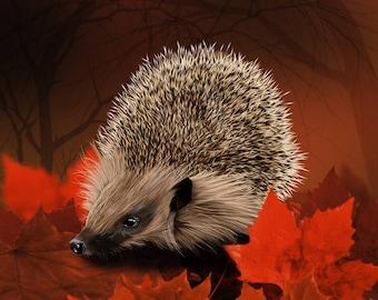 "Autumn Hedgehog, 12x16""/8x10"" Giclee Art Print"