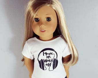 18 inch doll clothes - music graphic t shirt