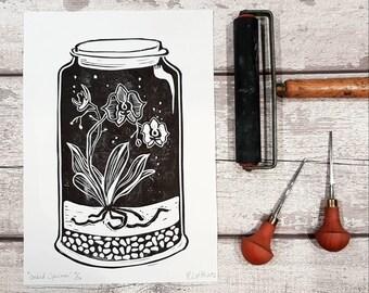 Orchid Flower Terrarium,  Monochrome, black and white, botanic art prints, wall art, wall decor, living room wall art, bedroom wall art