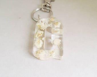 Initial keyrings, gypsophila flowers, initial keychains, large letter keyring, white initial keyring, baby's breath, monogram gift