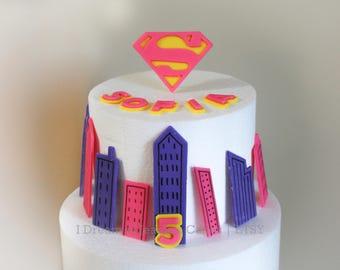 Supergirl or Superman, Girl Superhero, Boy Superhero,  Cake Topper Set