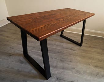 Industrial style rustic - reclaimed wood - metal legged - dining table