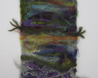 Needle felting, Scottish Highlands. Handmade needle felted picture. Unique felted picture.