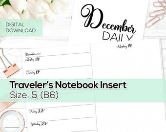 Day on 1 Page - TN Inserts - December 2017 - B6 / Size No. 5 | TN-DO1P-DEC-5-D Digital Download Printable