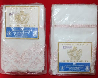 Cannon Royal Family Court of Versailles Vintage Percale Std/Queen Pillowcases, 2 Pkgs of 2, Combed Pima Cotton and Poly Blend, Pink Edge