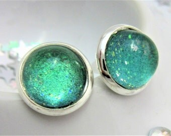 Green Teal Glitter Nail Polish Silver Plated Stud Earrings with Stopper, Glitter Varnish, Stud Earrings, Emerald Green, Bright Teal