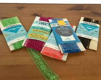 Vintage stretch lace lot mixed size color sewing and craft essentials