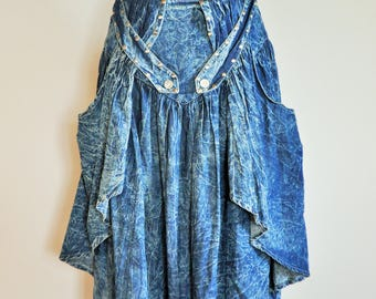 Vintage Denim Skirt / High Waist / Jean / Midi / Mid Length / Sun / Bleached / 90s / 80s / Acid Wash / Studs / Spikes