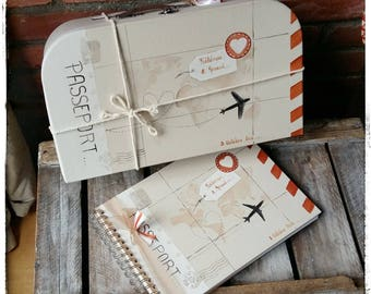 "Pack of wedding suitcase ""Travel"" and guestbook (medium)"