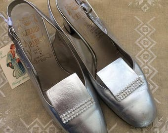 LOUISE - metallic silver leather, vintage slingback heels with rhinestone detail