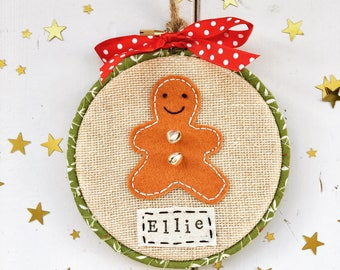 Personalised Christmas Decoration - Christmas tree ornament - Personalised Christmas Ornament - Gingerbread man - 1st Christmas - tree decor