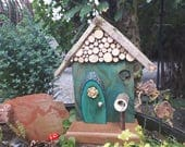 Sea Green Fairy Door with Button, Cross Cut Roofline Detail and Mailbox