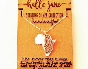 Protea Africa Necklace - sterling silver