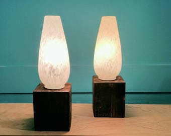 Set of 2 wooden and glass