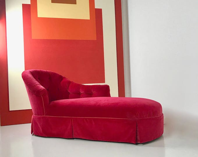 Mid Century Modern Hollywood Regency Glam MAGENTA VELVET CHAISE
