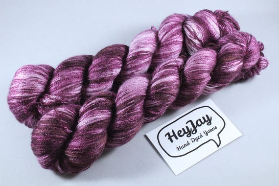 Hand Dyed Merino/Silk Yarn - Blackcurrent