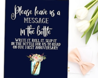 Message in a Bottle Guest Book Message in Bottle Sign Wedding Guestbook Sign download Message in a Bottle Wedding Beach Guestbook idw108