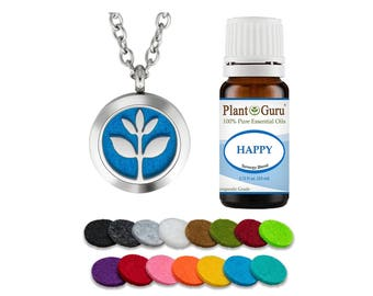 """Plant Guru Essential Oil Diffuser Necklace Set With Happy 10 ml, 25mm Stainless Steel Locket Pendant with 24"""" Adjustable Chain, 15 felts"""