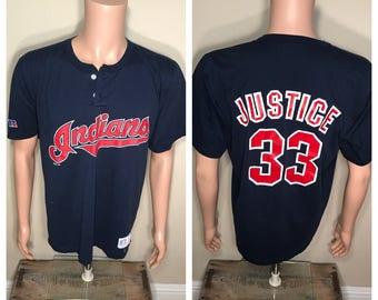 David Justice russell athletic jersey // Vintage Cleveland Indians shirt // David justice jersey shirt // Adult size large // 90s tribe //