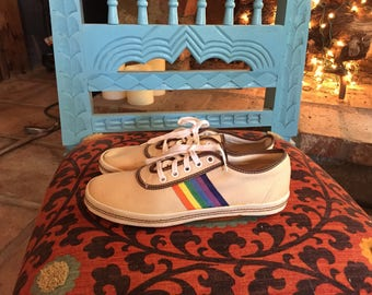 70s Rainbow Canvas Sneakers Size 8 - New!!!!