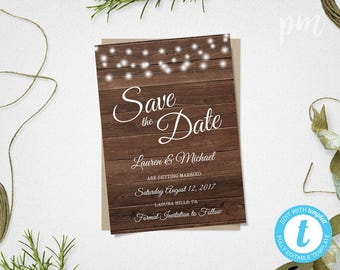 diy save the date magnets template - rustic save the date etsy
