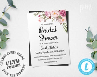Floral Printable Bridal Shower Invitation Template, Bridal Shower Template, Bridal Shower Invite Flower, Instant Download Printable Template