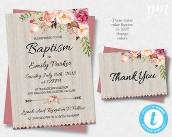 Baptism invitation template christening invite template printable baptism invitation template christening invite template floral baptism instant download baptism invite stopboris Image collections