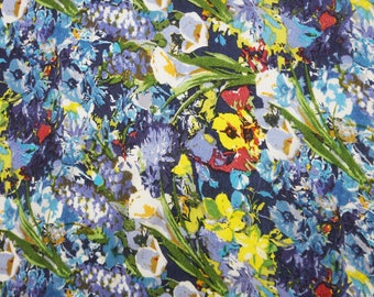 "Multicolor Fabric, Floral Print, Home Decor Accessories Fabric, Apparel Fabric, 52"" Inch Cotton Fabric By The Yard ZBC7862A"