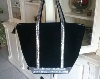 Silver sequins and Black canvas tote bag