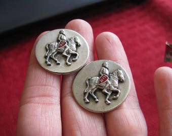 "Knight on a Horse ""CR"" on Shield-Sterling Silver Cuff Links"