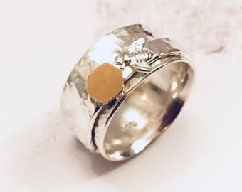 Spinner ring, bee ring, honeycomb ring, silver ring, fidget ring, worry ring, bee jewelry, bumble bee ring, honeybee ring, gold filled